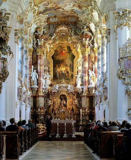 Stock Photo: 1848-79926 Wieskirche, altar, ceiling frescos, Steingaden, Pfaffenwinkel, Upper Bavaria, Germany