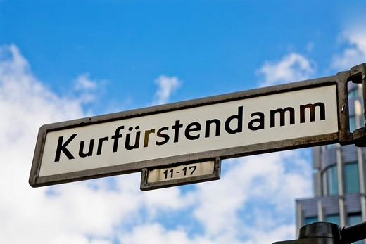Street sign Kurfuerstendamm, Berlin, Germany : Stock Photo