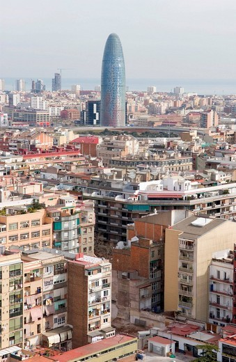 View from one of the Towers of Sagrada Familia Cathedral towards the office tower Torre Agbar, in Barcelona, Spain : Stock Photo