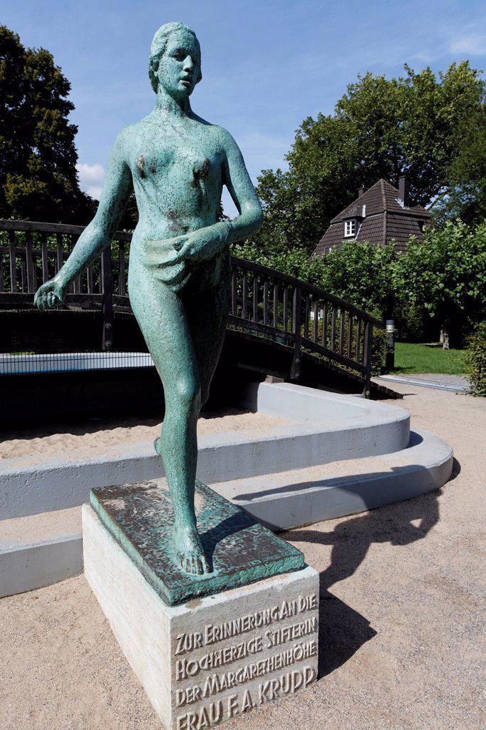 Stock Photo: 1848-804199 Sowing woman, bronze statue, monument to Margarethe Krupp, historic residential area of Margarethenhoehe Garden City, Essen, Ruhr area, North Rhine-Westphalia, Germany, Europe