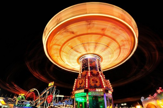 Stock Photo: 1848-80509 Chain carousel at night, Oktoberfest, Munich, Bavaria, Germany, Europe