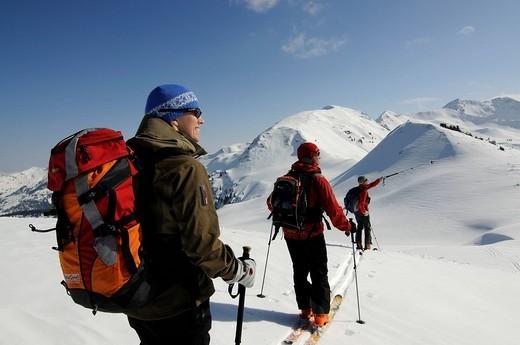 Ski hikers on a trek up Mount Joel and Mount Laempersberg, Wildschoenau, Tyrol, Austria, Europe : Stock Photo