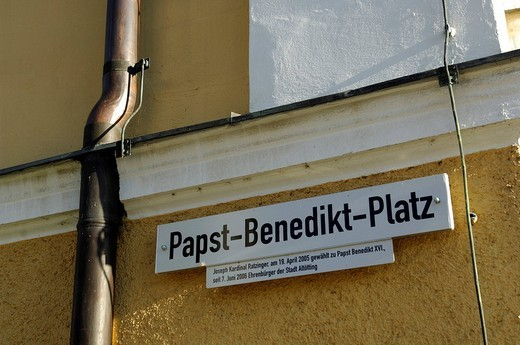 Papst_Benedikt_Platz, street sign, Altoetting, Chiemgau, Bavaria, Germany, Europe : Stock Photo