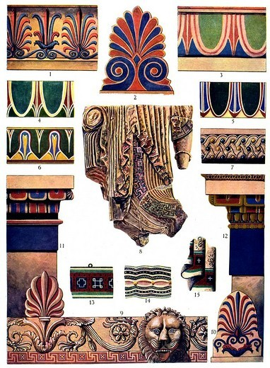 Historic illustration, Greek ornaments, Greek marble : Stock Photo