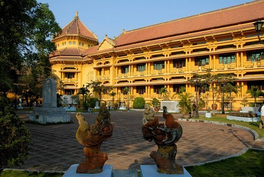 Colonial building, painted yellow, Museum of Ethnology, Hanoi, Vietnam, Southeast Asia, Asia : Stock Photo