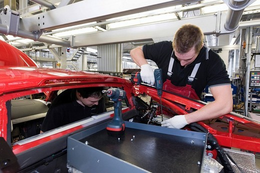Stock Photo: 1848-80974 Audi employee assembling an Audi R8 sports car in the Audi R8 assembly hall, Baden_Wuerttemberg, Germany, Europe