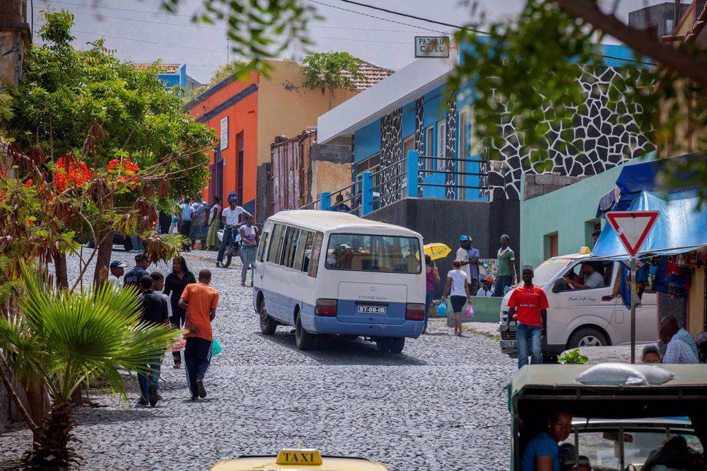 Stock Photo: 1848-816697 Street scene, São Filipe, Fogo island, Cape Verde