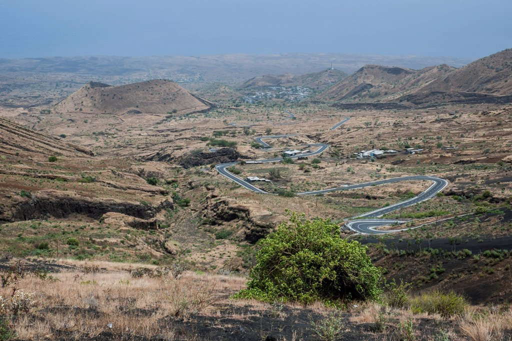 Views over the volcanic landscape, Fogo National Park, Fogo island, Cape Verde : Stock Photo