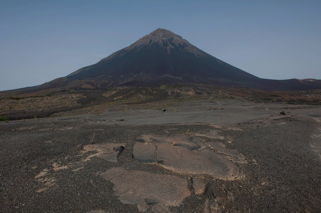 Stock Photo: 1848-816704 Volcanic landscape and the volcano Pico do Fogo, Fogo National Park, Fogo island, Cape Verde