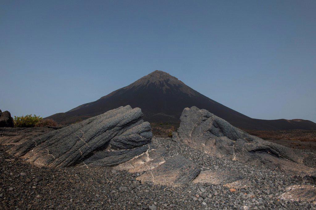 Volcanic rock and ash, volcanic landscape, behind the volcano Pico do Fogo, Fogo National Park, Fogo island, Cape Verde : Stock Photo