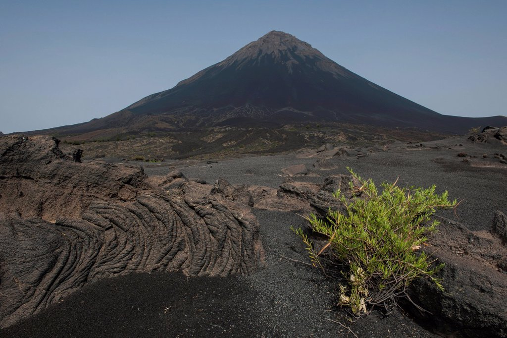 Stock Photo: 1848-816707 Volcanic rock and ash, volcanic landscape, behind the volcano Pico do Fogo, Fogo National Park, Fogo island, Cape Verde