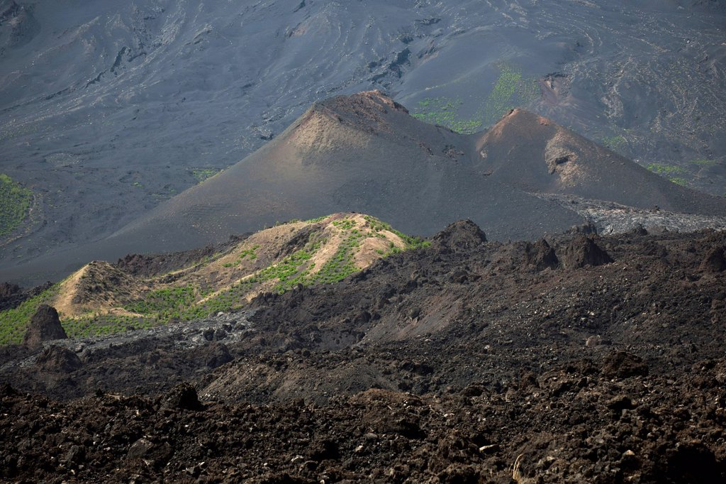 Stock Photo: 1848-816710 Secondary crater in the lava field of the Pico do Fogo volcano, Fogo National Park, Fogo island, Cape Verde