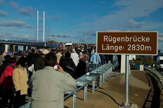 The new Ruegenbruecke Ruegen bridge, connecting Stralsund and the island of Ruegen, Mecklenburg_Western Pomerania, Germany : Stock Photo