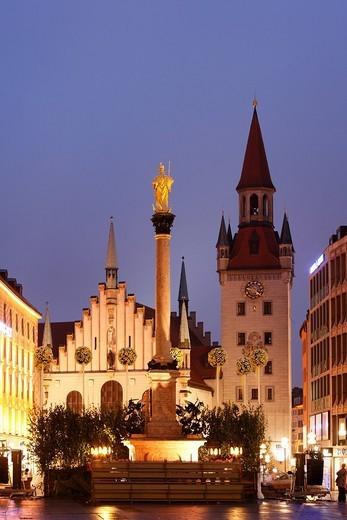Stock Photo: 1848-82267 Marian Column, Old Town Hall, Marienplatz Square, Munich, Bavaria, Germany, Europe