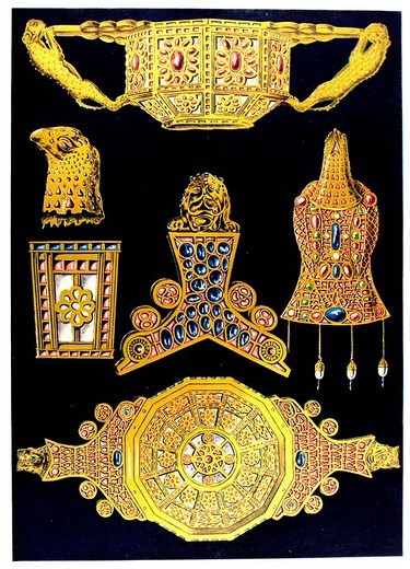 Treasure of Petrosa, antiquity, late_Greek ornament, Linas, Les origines de I´orfevrerie cloisonnee : Stock Photo