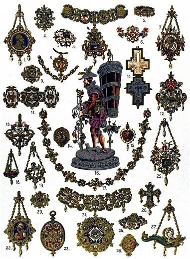 Stock Photo: 1848-82674 Historic illustration, German ornaments, Renaissance jewelry
