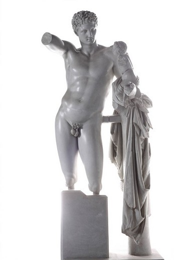 Stock Photo: 1848-82771 Hermes bearing the infant Dionysus, sculpture by Praxiteles, about 340 BC