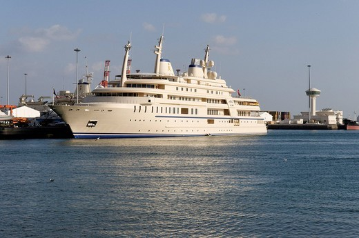 Stock Photo: 1848-83008 Sultan Qaboos royal yacht, Mutrah harbour, Muscat, Sultanate of Oman, Arabia, Middle East