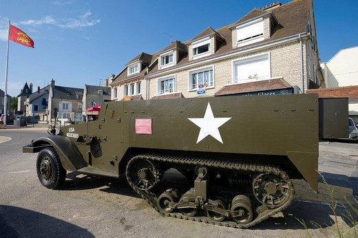 Armored vehicle, memorial in Arromanches_les_Bains, Normandy, France, Europe : Stock Photo