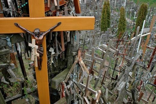 Mountain of crosses, Lithuania : Stock Photo
