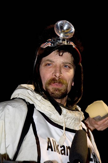 Stock Photo: 1848-84189 4 times Yukon Quest Sled Dog Race champion and 2 times Iditarod winner Lance Mackey, during an interview after winning his 4th Yukon Quest in a row, Whitehorse, Yukon Territory, Canada