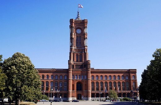 Red city hall, Berlin, seat of government : Stock Photo