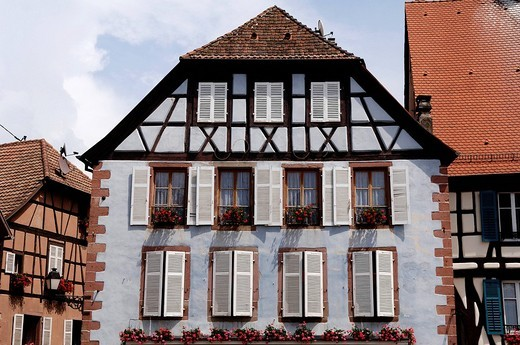 Half_timber building in Ribeauvillee, Alsace, France, Europe : Stock Photo