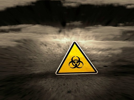 Stock Photo: 1848-84242 Yellow Biohazard sign in a gray, abstract, apocalyptic environment, concept picture, symbol for pollution, danger, poisons, toxins, biological warfare, 3D illustration