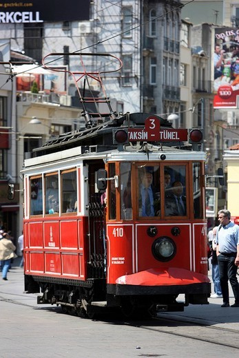 Tuenel tram through the main pedestrian zone, Istiklal Caddesi in the Boyoglu district, Sultanahmet, Istanbul, Turkey : Stock Photo