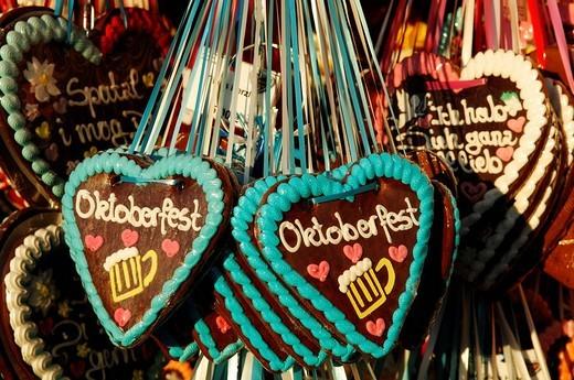 Gingerbread hearts, Wies´n, Oktoberfest, Munich, Bavaria, Germany, Europe : Stock Photo