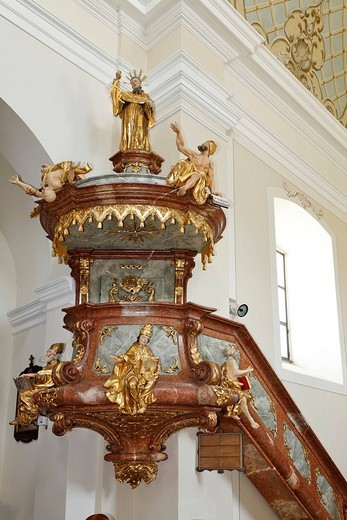 Stock Photo: 1848-8455 Representation of St. Augustine on a pulpit in the parish church at Schoengau, Triestingtal, Lower Austria, Austria