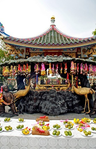 Stock Photo: 1848-84586 Pavillion with sacred religious artifacts, Chinese palace temple, Viharnra Sien, Anek Kusala Sala, museum with cultural artifacts and works of art, built in 1993, Silverlake, Chonburi Province, Thailand, Asia
