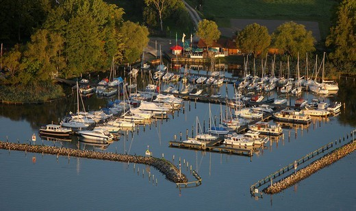 Stock Photo: 1848-84615 Aerial photograph, boat landing stage, Klink, Mueritz, Mecklenburg_Western Pomerania, Germany, Europe