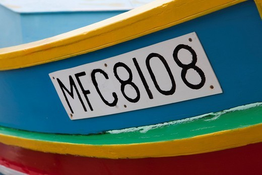Registration number, traditional fishing boat, called Luzzu, port of Marsaxlokk, Malta, Europe : Stock Photo