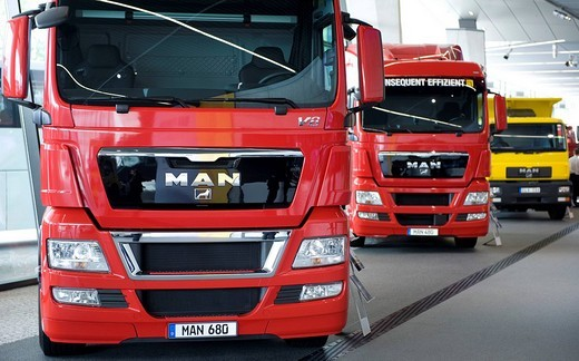 Stock Photo: 1848-85274 MAN trucks, MAN Forum, Munich, Bavaria, Germany, Europe