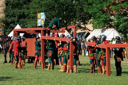 Medieval games during the Landshut Wedding historical pageant, Landshut, Lower Bavaria, Bavaria, Germany, Europe : Stock Photo