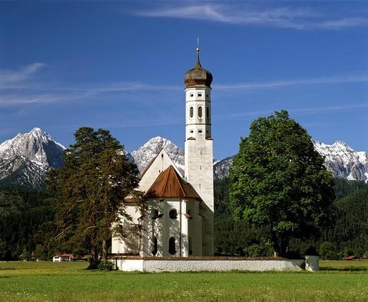 Stock Photo: 1848-85867 Church of pilgrimage, St Coloman near Fuessen, Thannheimer Mountains, Allgaeu, Bavaria, Germany