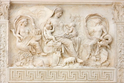 Relief depicting the goddess Tellus on front side of the Ara Pacis Augustae altar, Rome, Italy, Europe : Stock Photo