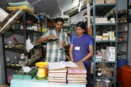 Stock Photo: 1848-85898 Medicines produced at the in_house Soma Herbals factory, Somatheeram Ayurveda Resort, traditional Ayurvedic medicine spa resort in Trivandrum, Kerala, India, Asia