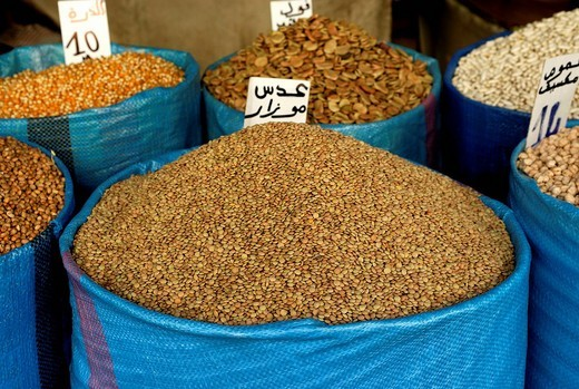 Stock Photo: 1848-86013 Lentils in a blue sack, Fes, Morocco, North Africa