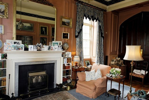 Living room with fire place, Prideaux Place Manor, Padstow, Cornwall, South England, Great Britain, Europe : Stock Photo