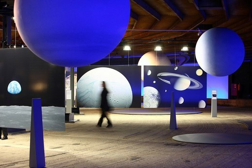 Three_dimensional representation of the Sun and her planets, Out of this World – Wonders of the Solar System, exhibition in the Gasometer, a former gas tank, Oberhausen, Ruhr Area, North Rhine_Westphalia, Germany, Europe : Stock Photo
