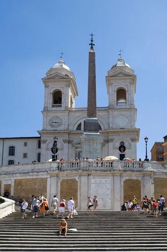 Santa Trinita dei Monti church, Piazza di Spagna, Spanish Steps, Rome, Lazio, Italy, Europe : Stock Photo