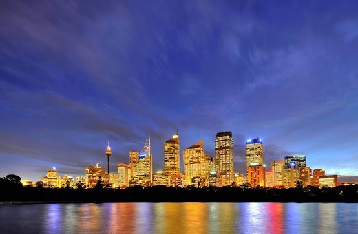 Sydney skyline, TV Tower, Central Business District, night, Sydney, New South Wales, Australia : Stock Photo