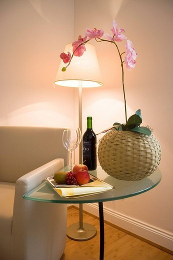 Stock Photo: 1848-87331 Still life with arm chair, floor lamp and wine