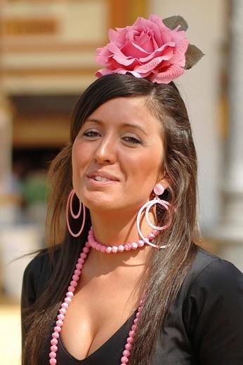 Girl in traje de gitana , Feria de Caballo , Jerez de la Frontera , Cadiz , Andalusia , Spain , Europe : Stock Photo