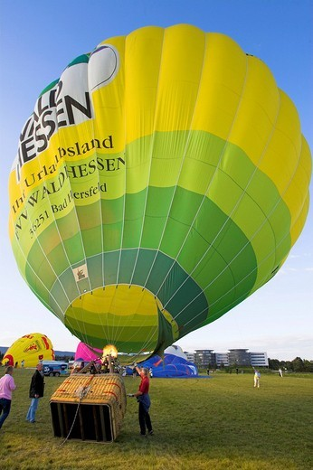 Hot_air balloon starts within the Montgolfiade in Bad Homburg, Hesse, Germany : Stock Photo