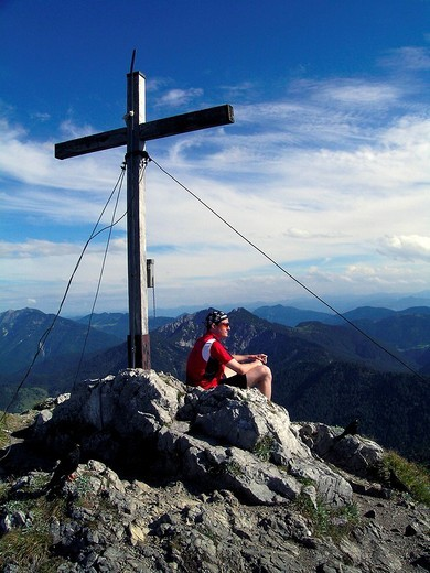 Summit cross, Risserkogel, Bavaria, Germany : Stock Photo