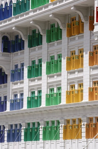 SGP Singapore: Ministry of Information Communication an the Arts MICA. Coloured window shutter. , : Stock Photo