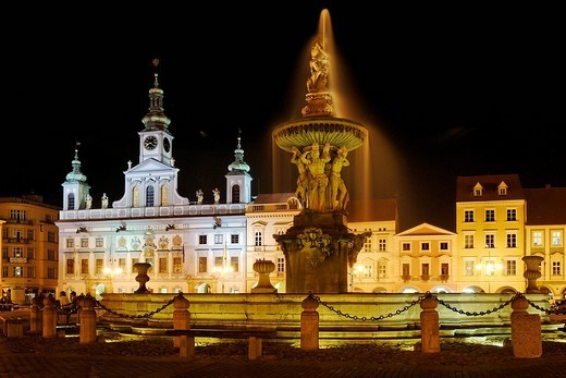Stock Photo: 1848-87674 Fountain, historic old town of Ceske Budejovice, Budweis, Budvar, south Bohemia, Czech Republic
